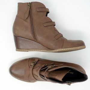 Franco Sarto Anessa Leather Ankle Bootie Brown
